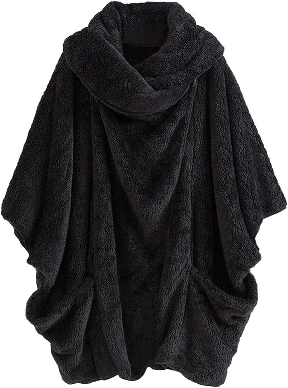 Women's Baggy Plush Turtleneck Bat Sleeve Overcoat Sexy Double Sided Faux Fur Loose Coat Jacket Single Button Outwear