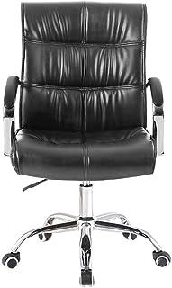 Silla ergonómica Volver Equipo PU Medio, Silla de Oficina de Cuero de imitación giratorios de sillas de Escritorio, Hight Ajustable Silla de Rodillas (Color : Black)