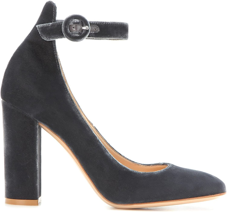 Women's Thick Heel Velvet Single shoes Velvet Mary Jane High Heels Buckle Spring Autumn(Heel Height 11-13cm)