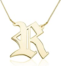 Personalized 925 Sterling Silver Old English Necklace Custom Made with Any Initial 14-22 Inch Chain