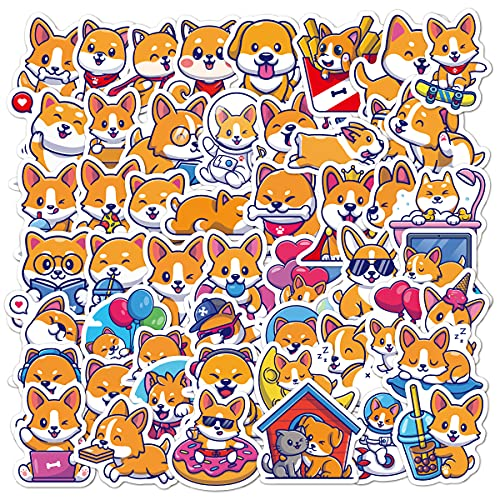 Animal Stickers Cute Dog for Water Bottles 50 Pcs Waterproof Aesthetic Trendy Stickers for Teens Kids Girls and Boys, Perfect for Laptop Notebook Tablet Phone Car Travel Extra Durable 100% Vinyl