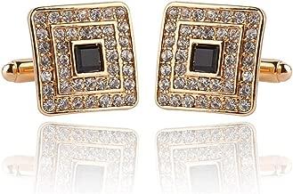 Rectangle Gold Pattern Luxury Crystal Rhinestone Rectangle Cufflinks Formal Business