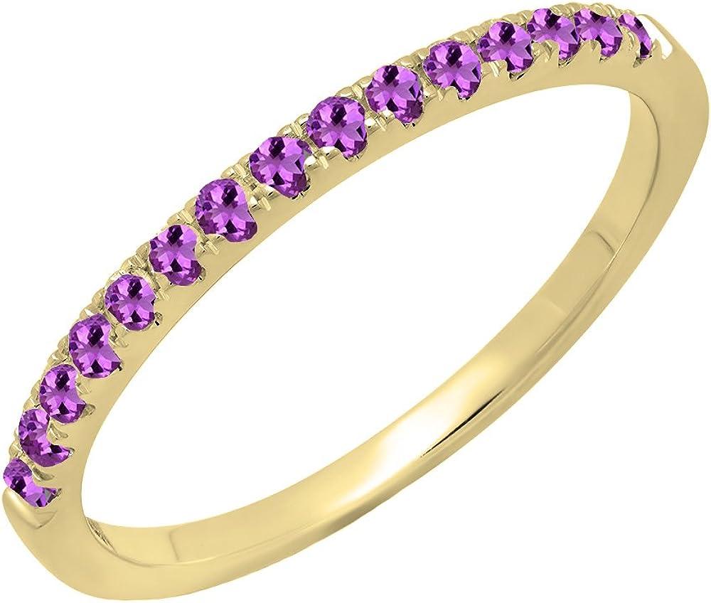 Dazzlingrock Collection 18K Round Gemstone Ladies Bridal Stackable Wedding Band 1/4 CT, Yellow Gold
