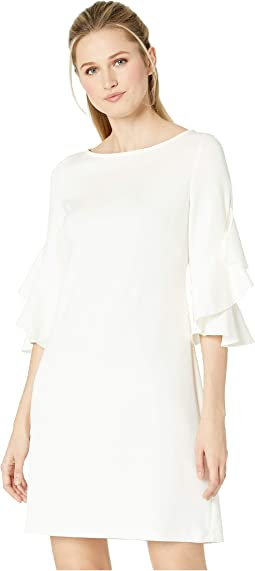 Ruffle Sleeve Solid Shift Dress