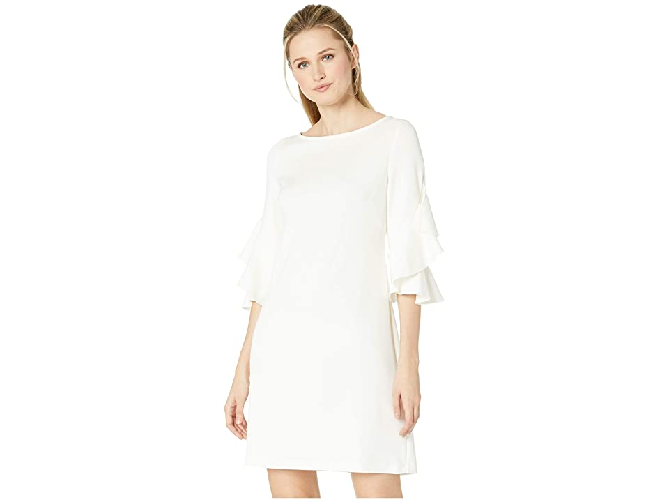 Taylor Ruffle Sleeve Solid Shift Dress (Ivory) Women