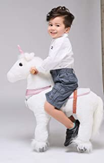 UFREE Horse Action Pony, Walking Horse Toy, Rocking Horse with Wheels Giddy up Ride on for Kids Aged 3 to 5 Years Old (Unicorn Pink Horn (Fulfilled by Amazon))