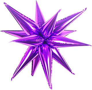50 Pcs Foil Cone Balloons, Point Star Balloons for Party Supplies, Purple