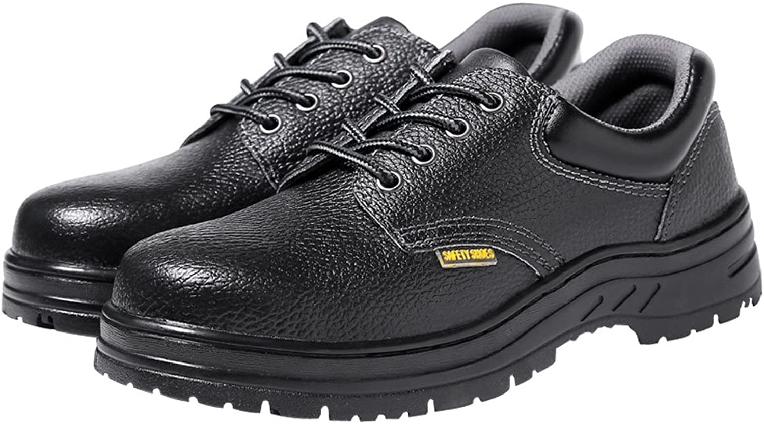 Eclimb Men's Low-top Leather Steel-Toe Work shoes Rubber Sole