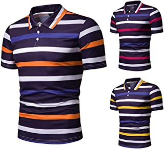 LUKEEXIN Men's Striped Thin Section Large Size POLO Shirt