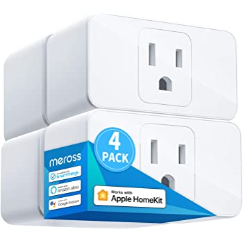 Meross Smart Plug Mini, 16A & Reliable WiFi, Support Apple HomeKit, Siri, Alexa, Echo, Google Assistant, Nest Hub and SmartThings, App Control, Timer, No Hub Needed, 4 Pack