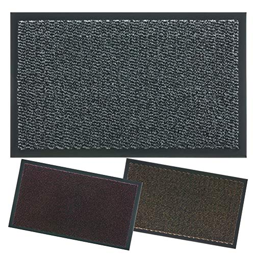 Lipari I - Felpudo para entrada de casa, antideslizante, para interior y exterior, antideslizante, 40 x 70 cm, color gris