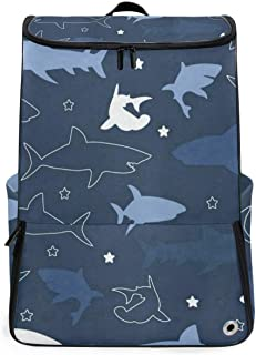 Vintage Retro Shark Travel Backpack 17 Inch Laptop Duffel with Shoes Compartment for Men Women