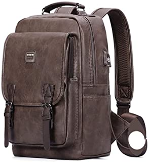 Anti-Theft Backpack PU Leather Waterproof USB Charging Smart Large-Capacity Travel Backpack (Color : Brown, Size : S)