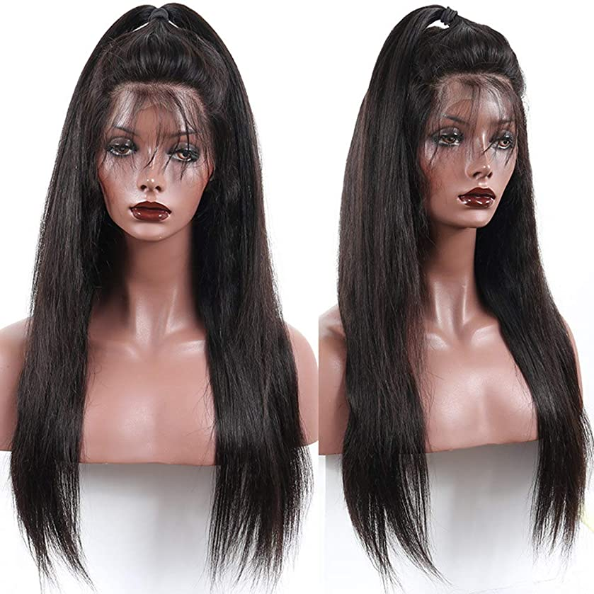 Perstar Brazilian Straight Lace Front Wigs Human Hair With Baby Hair Glueless Lace Front Wigs Remy Human Hair Wigs For Black Women Pre Plucked Wig 150% Density(20 inch, Natural Color)