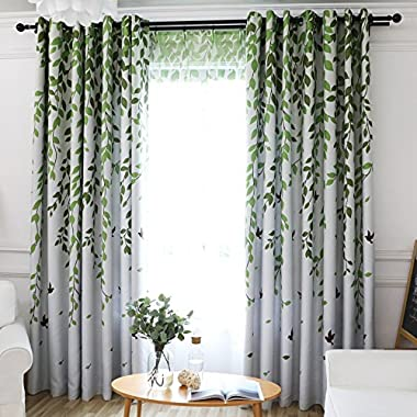 VIVIFabric Grommet Top Print Floral Leaves Pattern Country Style Patio Door Curtain for Soliding Doors Curtains for Bedroom/Living Room, 42Wx63L inch, Multi Size Custom (1 panel)