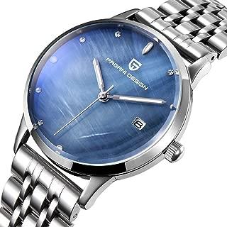 39mm Solid Steel Strip Calendar Fashion Waterproof 3ATM Student Blue White Woman Girl Lady Simple Diamond 12mm Quartz Watch