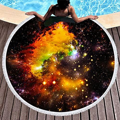 HUSTLE Toalla De Playa Impresa Cielo Estrellado De Microfibra, Toalla De Baño Redonda, Estera De Yoga,I