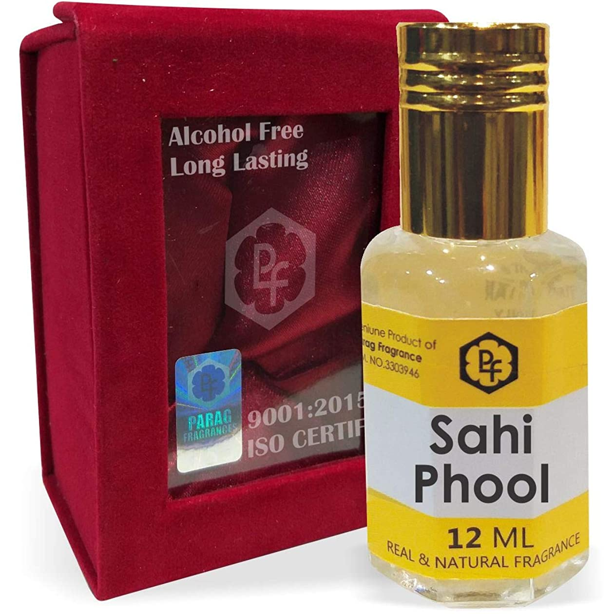 煙枯渇フィルタ手作りのベルベットボックスParagフレグランスSahi Phool 12ミリリットルアター/香油/(インドの伝統的なBhapka処理方法により、インド製)フレグランスオイル アターITRA最高の品質長持ち