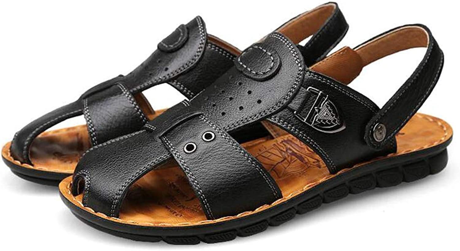 Y-H Men's Sandals Leather Fisherman Breathable Summer Casual Adjustable Strap shoes Walking Beach Travel,Black,42