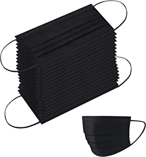 100PCS Face Mask Disposable Black Face Masks 3-Layer Safety Elastic Ear Loop for Blocking Dust Air Pollution Protection