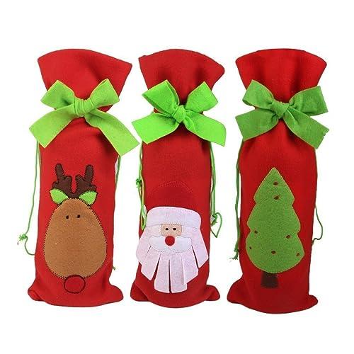 Sungpunet Lot de 3pochettes de Noël pour bouteille de Vin Emballage cadeau À cordon Motif Père Noël, renne, sapin Décoration de table