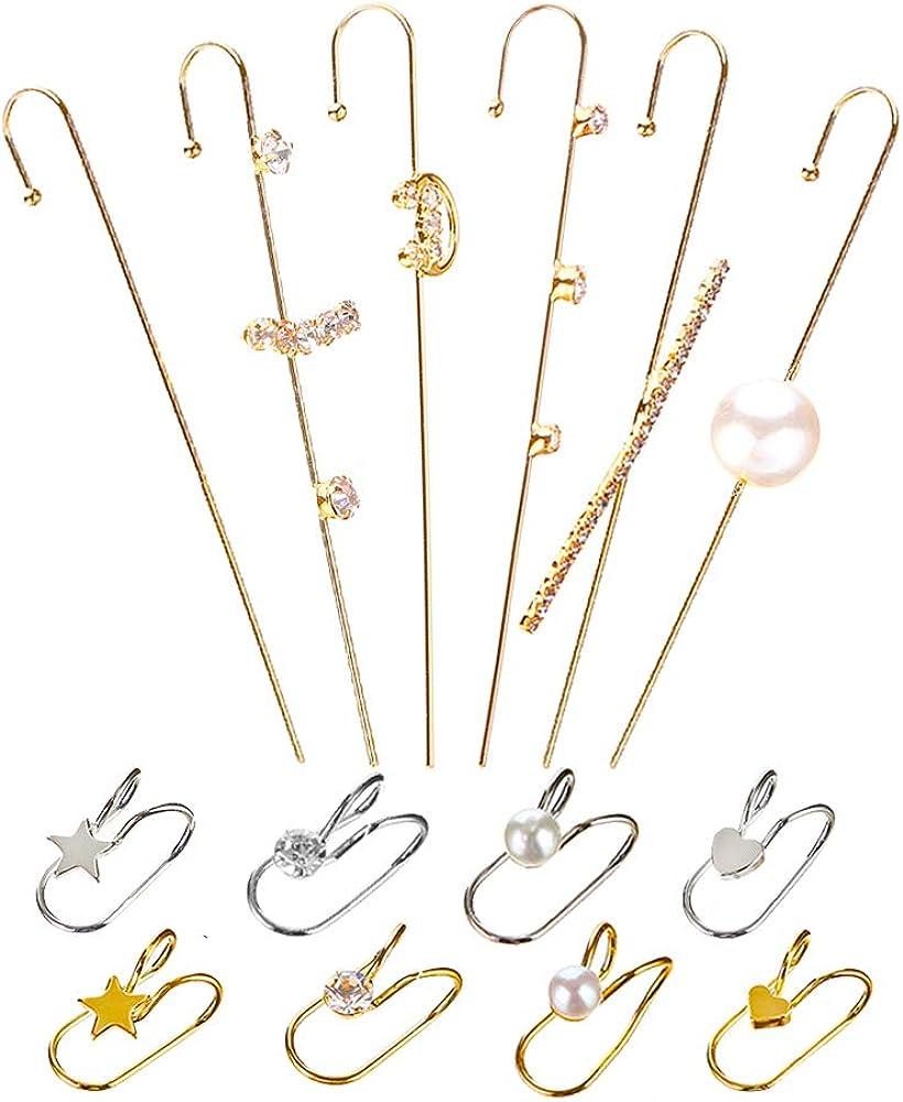 SOOWOOT 14 Pcs Ear Wrap Crawler Hook Earrings Ear Cuffs Earrings Piercing Climber Hook Earrings For Women Girls