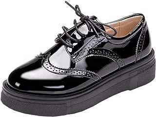 DADAWEN Women's Platform Lace-Up Comfort Wingtips Square Toe Oxford Shoes Brogues