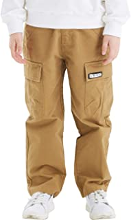 Boys' 100% Cotton Multi Pocket Chino Cargo Pants for Kids Size 5-18