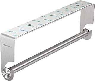 simpletome Kitchen Paper Towels Holder Under Cabinet Adhesive or Drilling Installation Brushed SUS304 Stainless Steel (Silver)
