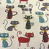 Stoff Meterware Baumwolle Katzen Karo weiß grau grün rot