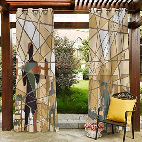 ScottDecor Fitness Outdoor Sheer Curtain for Front Porch/Garden Mosaic Design of People Exercising in a Gym Barbells Weightlift Slate Blue Pale Brown Black 100' W by 84' L(K254cm x G213cm)