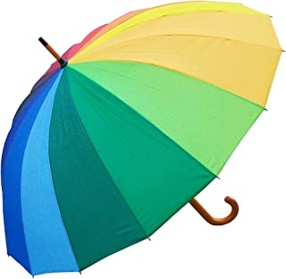 RainStoppers Auto Open 16-Panel Rainbow Umbrella with Wood Hook Handle, 48-Inch