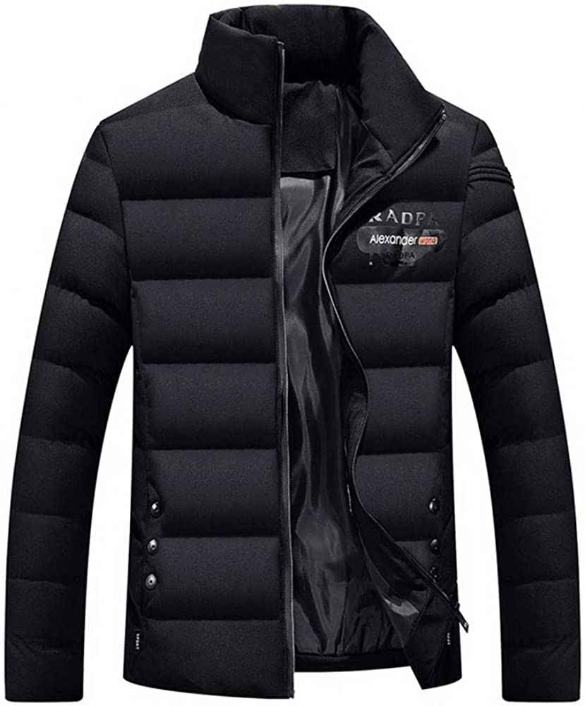 DIOMOR Mens Casual Business Puffer Jacket Stand Collar Full Zipper Down Coat Quilted Warm Windbreaker