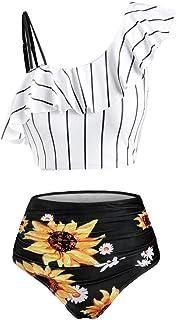 Riou Bikini Vita Alta da Donna,Set Costumi da Bagno con Arruffato,Bikini da Spiaggia Taglia Grossa Sexy,Top a Righe e Cost...