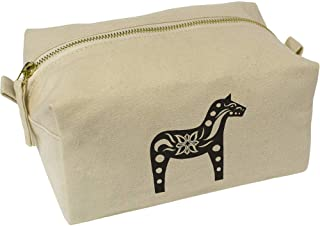 'Patterned Horse' Canvas Wash Bag / Makeup Case (CS00018382)