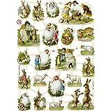 3 Hojas con formas troqueladas vintage de motivos campestres y de Pascua, 16,5 x 23,5 cm