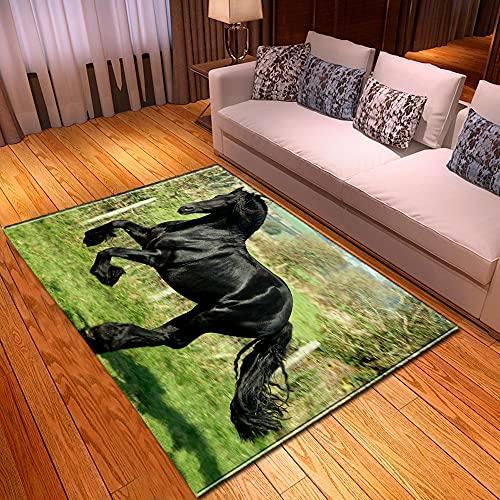 XuJinzisa Animal Caballo Paisaje 3D Impresión Alfombra Sala De Estar Dormitorio Hogar Antideslizante Decoración Suave Decoración del Hogar Alfombra 80X150Cm H17377