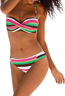 f91506027114 Aleumdr Sexy Costume da Bagno Donna Tie Dye Costume Donna Due Pezzi Bandeau  Set Bikini Donna