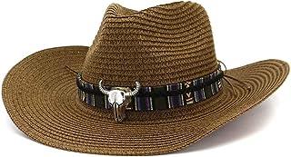 Duyani Verano Hombres Mujeres Sombrero de Vaquero de Paja Sombrero de Sol de Playa al Aire Libre Sombrero de Sol Protector Solar de Color Cabeza de Vaca (Color : Coffee, Size : 56-58cm)