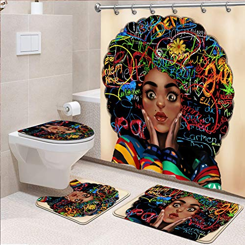 4 Pcs Black Girl Shower Curtain Set African American Woman Fabric Shower Curtain with Non-Slip Rug Toilet Lid Cover Bath Mat and 12 Metal Hooks for Bathroom