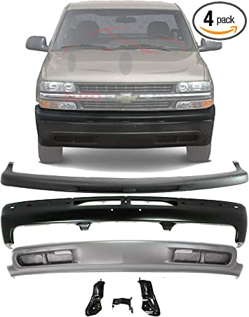 Amazon Com New Front Bumper Painted Black Upper Cover Filler Textured Lower Valance Air Deflector Primed For 1999 2002 Chevrolet Silverado 2000 2006 Tahoe Suburban Direct Replacement 12335826 Pfm Automotive