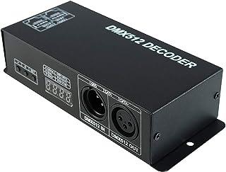 Iycorish DMX 512 Digital Display Decoder,Dimming Driver Dmx512 Controller for Led Rgbw Tape Strip Light Rj45 Connection Dc...