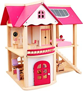 WSJTT DIY Dollhouse Kit Set - Portable Doll House Playset Toys for 3 4 5 6 Year Old Girls Kids with Furniture Accessories,...