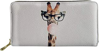 HUGS IDEA Giraffe Women Wallet Long Zip Aroun Phone Clutch Travel Purse Card Holder