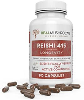 Organic Reishi Mushroom Extract by Real Mushrooms - 90 Capsules - Ganoderma Lucidum/Ling Zhi - Immune Booster