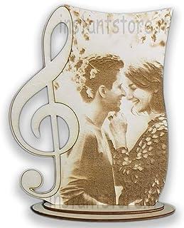 Fotoincisione su legno personalizzata con chiave di violino ottimo regalo per amanti della musica