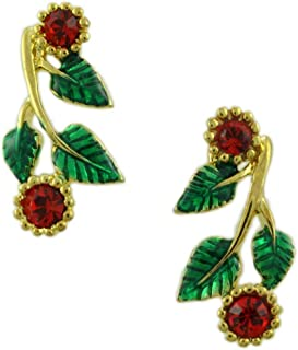 Red and Green Holly and Berries Christmas Earring