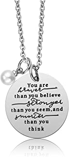 iJuqi Always Remember You are Braver Than You Believe Pendant Necklace, Inspirational Jewelry Gift for Women Teen Girls, Birthday Gifts for Sister Friends Daughter, Stainless Steel, 18''