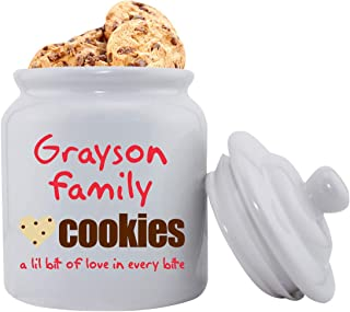 Personalized Family Cookies Ceramic Cookie Jar - Monogrammed Family Cookie Jar - Custom Cookie Jar