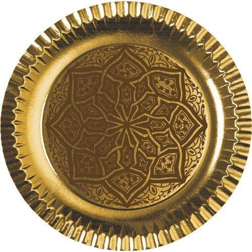 6 Teller, Pappe rund Durchmesser 29 cm gold